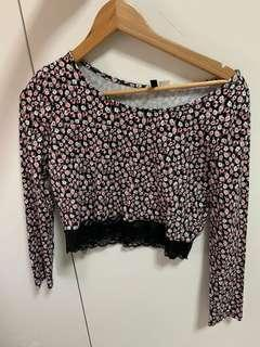 Floral pink and black lace trim long sleeve cropped top