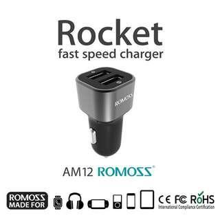 New Romoss AM12 Dual USB Car Charger (Dark Grey) #MFEB20
