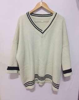 實拍!巨寬鬆!超厚實重磅中長款長版毛衣條紋毛衣V領毛衣寬鬆毛衣