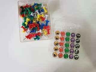 PUSH PINS / TACKS - emoticon pins + assorted colour pins