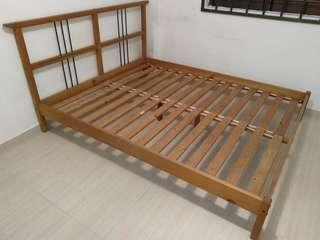 Ikea queen size solid pine bed frame