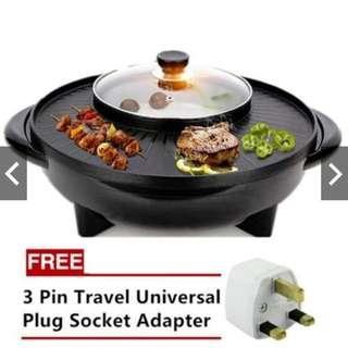 Bbq Grill & Steamboat Hot Pot Shabu Roast Fry Pan (1500W)