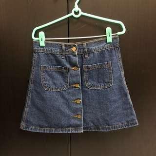 🚚 排扣牛仔短裙