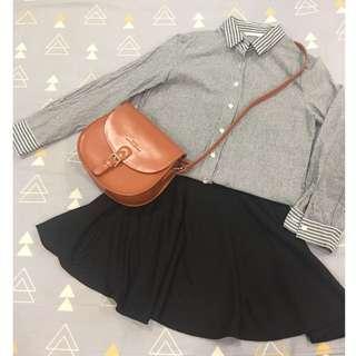 🚚 條紋襯衫+短裙set
