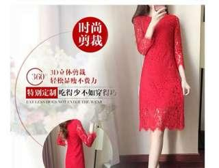 BNWT Winter Red Lace Dress with Fleece Lining