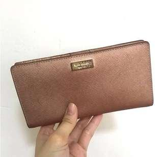 Kate Spade Rose Gold Stacy Newbury Leather Long Wallet