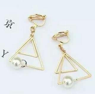 triangle pearl clip on earrings