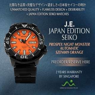 SEIKO JAPAN EDITION PROSPEX AUTOMATIC ORANGE KNIGHT MONSTER LIMITED EDITION SZEN009