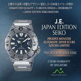 SEIKO JAPAN EDITION PROSPEX MONSTER AUTOMATIC LIMITED SZSC003 GREY BLUE