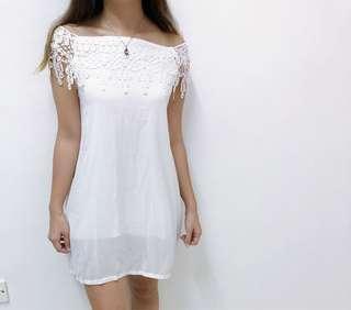 White lace off shoulder dress #JAN50
