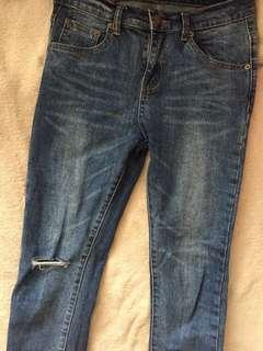 Denim Knee-Ripped Jeans