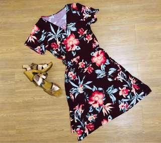 overlapping floral dress