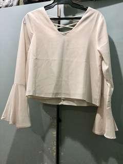 Zalora cream blouse