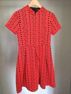 Discount!! Red mandarin collar dress