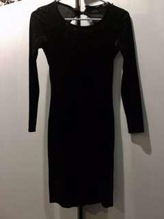 Miss selfridge black velvet bodycon dress