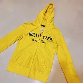 🚚 Hollister LOGO字樣撞色連帽外套/ 黃底藍字