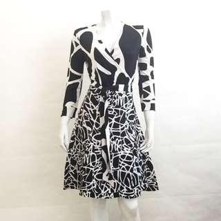NWT DIANE VON FURSTENBERG DVF D789003S14 Black White LS Wrap Dress US 8 UK 12