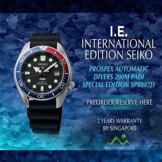 SEIKO INTERNATIONAL EDITION PROSPEX AUTOMATIC 200M DIVER SPB087J PADI EDITION SPECIAL EDITION