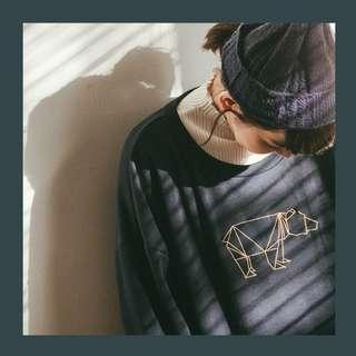 (全新) 刺繡熊圖案內絨毛長袖上衣 舒適厚刷毛大學T 深藍F QUEENSHOP