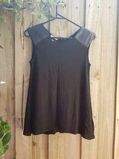 Witchery black top with leather shoulders. XS