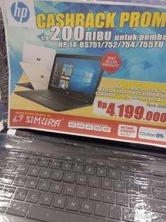 Laptop Hp 14-BS751TU cashback 200rb