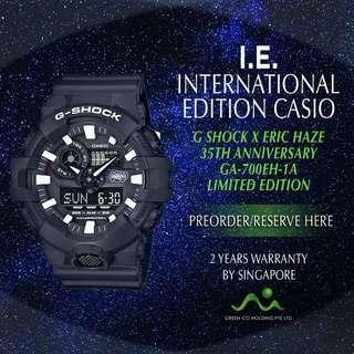 CASIO INTERNATIONAL EDITION G SHOCK X ERIC HAZE 35TH ANNIVERSARY LIMITED EDITION GA700EH-1A
