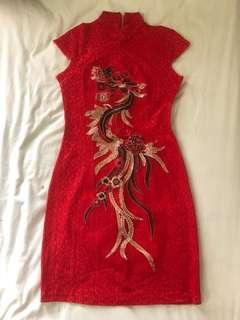 Red Gold Embroidery Cheongsam #CNYRED