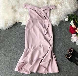 Off shoulder pink dress with mermaid bottom