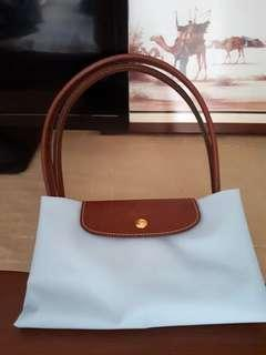 New Longchamp medium Long Handle Blue Authentic 100%