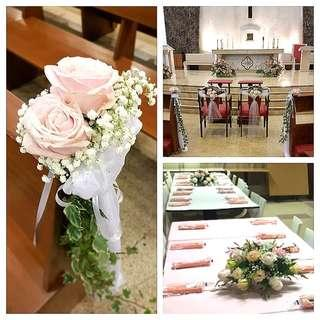 Church wedding decor - fresh flowers