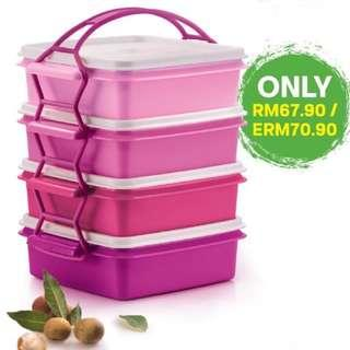 Tupperware small goody box with cariolier 4x790ml #CNY888