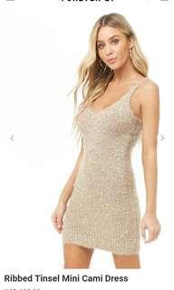 Forever 21 Ribbed Tinsel Mini Camel Dress