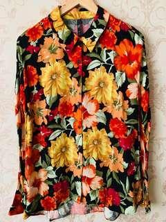 Kemeja Zara - Black Flower - Size M