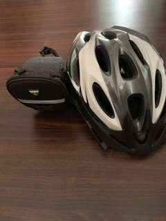 Bicycle bag and helmet
