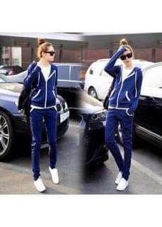 🚚 寶藍色外套+褲子套裝 M