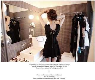 黑色顯瘦透視洋裝連衣裙