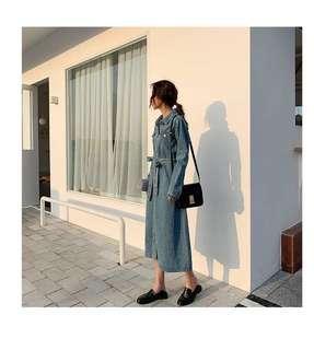 單寧牛仔長版外套連衣裙
