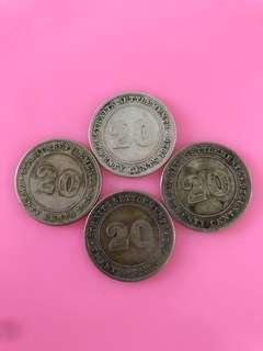 1926 George v king 20cents straits Settlements coin(4pcs)