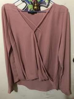 Forever 21 Criss cross rose pink blouse