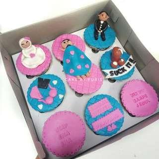 Cupcakes BRIDAL SHOWER isi 9cup - Cupcakes Fondant 2D/3D- TANGERANG