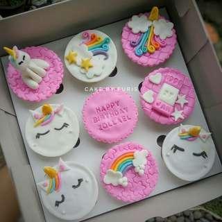 Cupcakes UNICORN isi 9cup - Cupcakes Fondant 2D/3D- TANGERANG