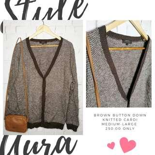Brown button down knitted cardi