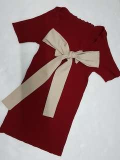 Sweet Ribbon back Knitting Top
