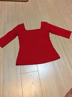Offshoulder red top