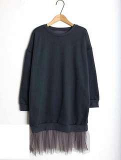 正韓下拼接紗裙棉質洋裝
