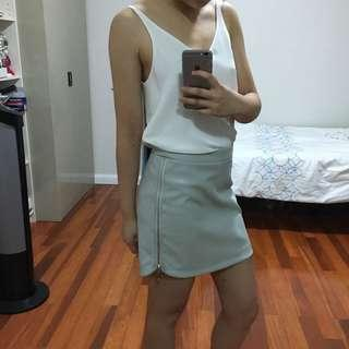 Grey vegan leather skirt