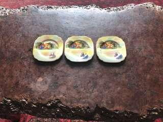 Extremely old - hand painted - set of three plates - very rare