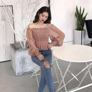 💕 Pretty Ulzzang Sheer Chiffon Off Shoulder with Bubble Puffy Long Sleeves