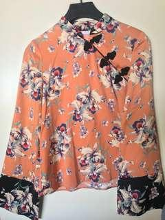 ZARA Cheongsam Floral Top (never worn)