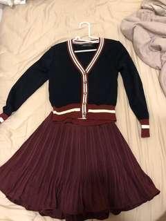 BOMY BY BOMY 女裝 韓國製造 上身黑色 深紅色褲裙 一套 made in Korea 100%全新